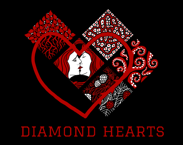 Five square tiles on a black background are arranged in the shape of a baseball diamond that has grown an additional base at top left. The tiles contain images mixing red, white and black: leaves and roots; white blood cells; tentacles; berries and leaves; and two gender-ambiguous faces kissing. The red outline of a heart traces through all the bases, mostly framing the kissing faces. Below the images is a title: Diamond Hearts.