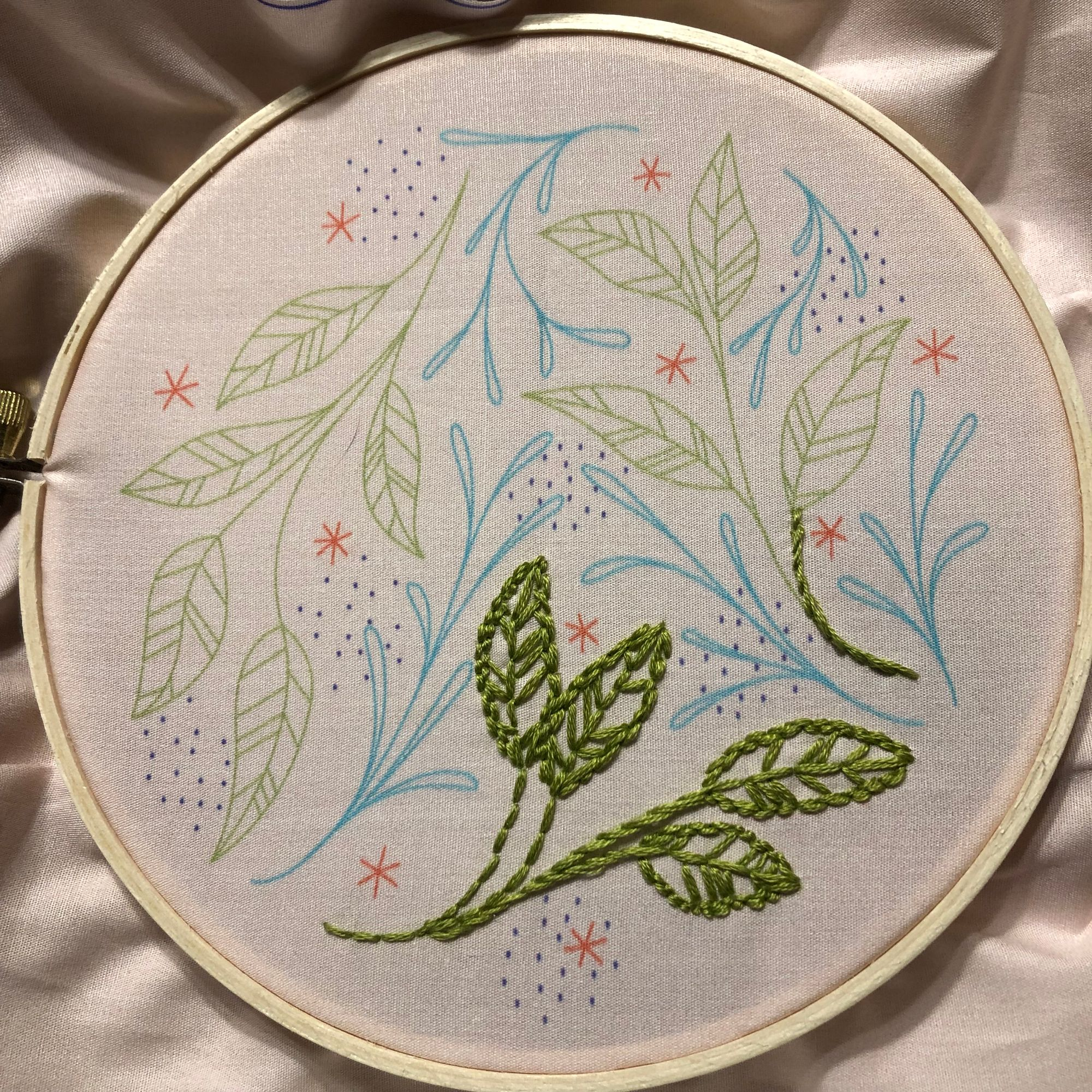 Close up on an embroidery hoop printed with a whimsical pattern of green leaves and blue vines, decorated here and there with dark blue dots and orange-red seven-pointed stars. Some of the leaves -- about a third -- have been embroidered with dark green thread.