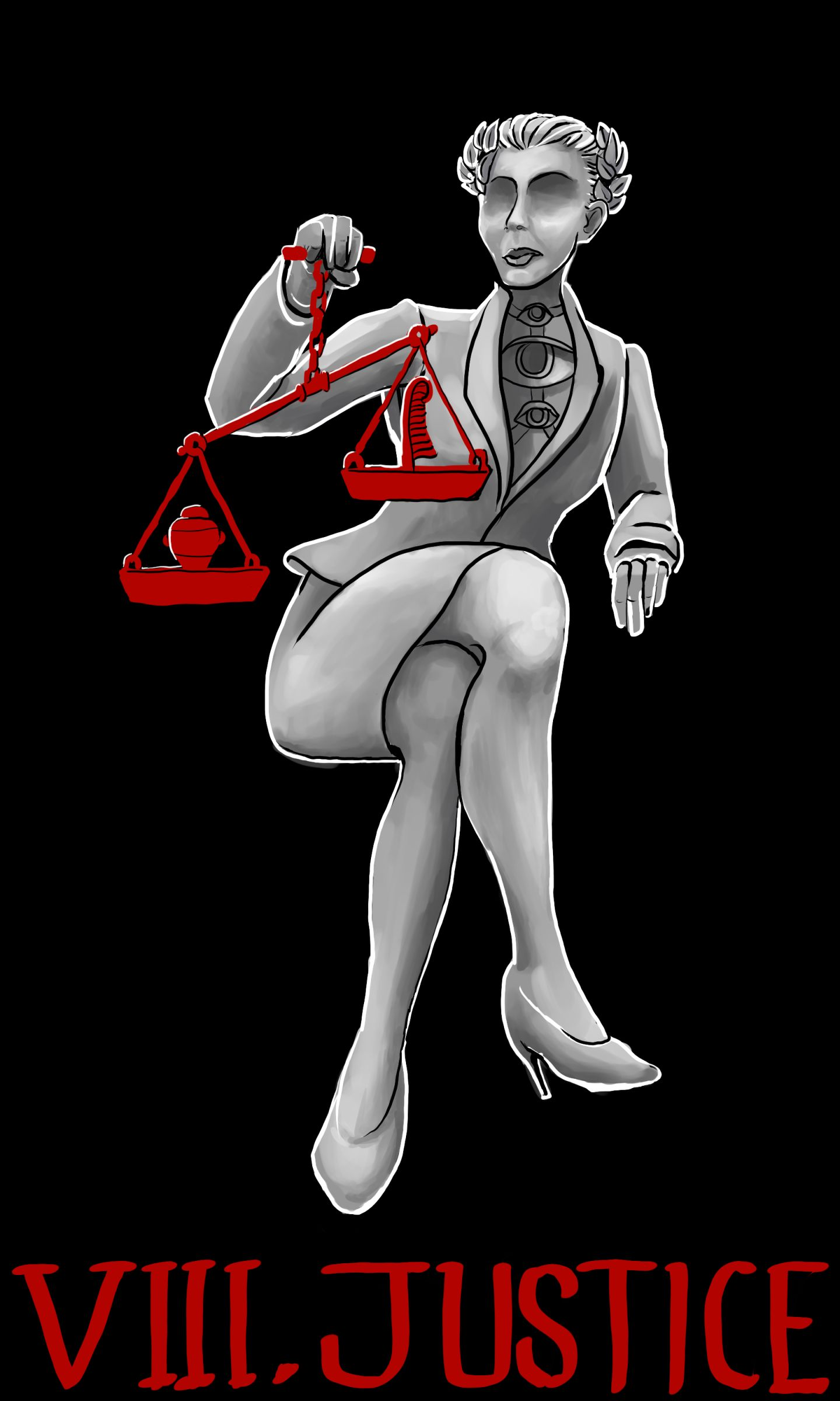 Justice: A laurel-crowned woman with short hair and no eyes, wearing a business suit and high heels, and a terrifying necklace with three vertically stacked eyes on it. Her legs are crossed and she holds up a red scale with a feather on one side and the bust of an idol on the other. The weight tips towards the idol.