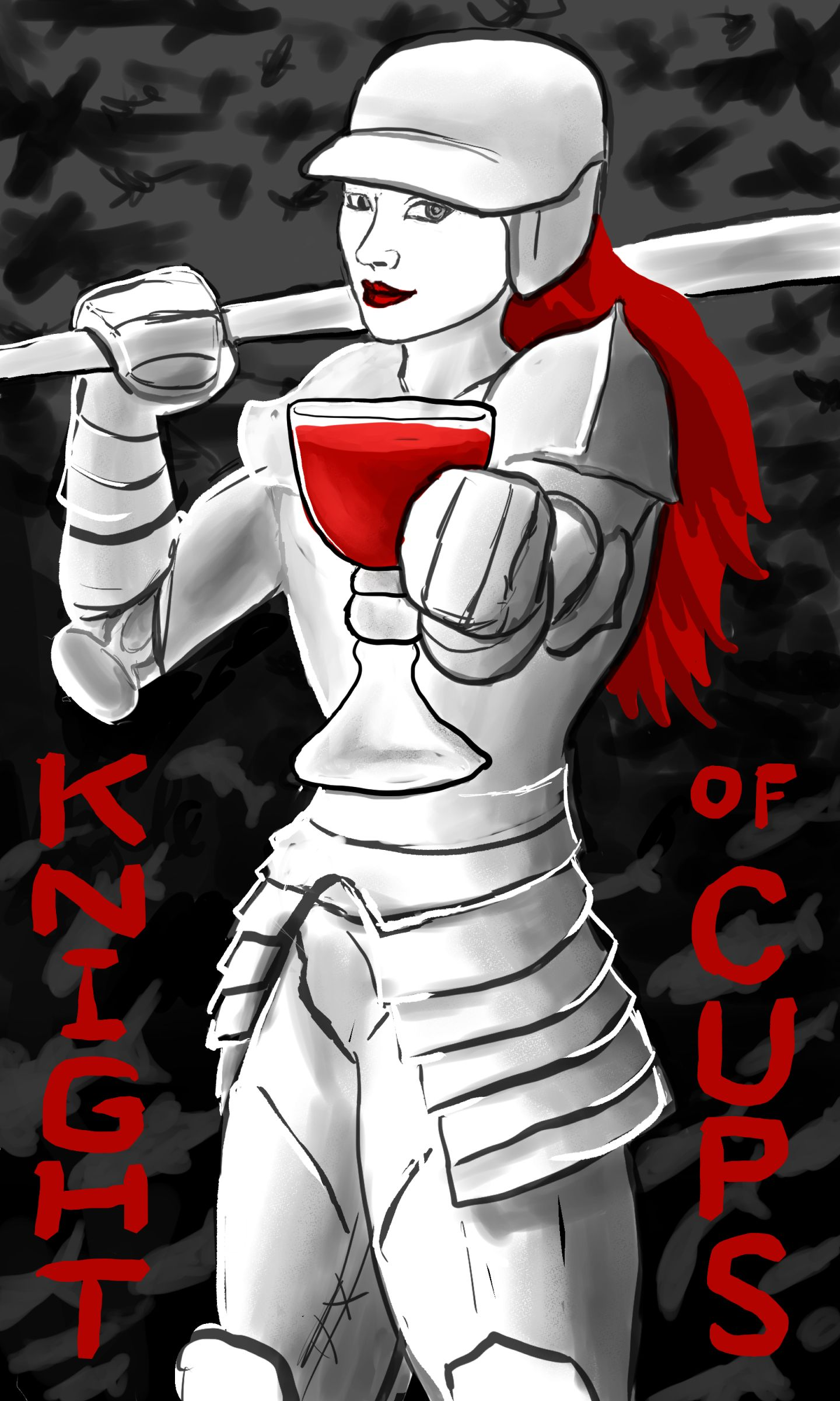 Knight of Cups: A woman clad in white knight's armour, with blood-red hair, holding a baseball bat over her right shoulder while offering the viewer a cup of red liquid with her left hand. The background behind her is grey at the top, with indistinct figures of birds in black; it is black at the bottom, with indistinct figures of sharks swimming in grey.